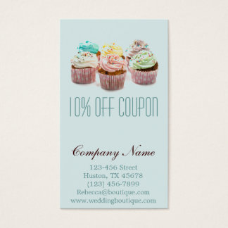 girly colorful cupcakes coupon bakery business card
