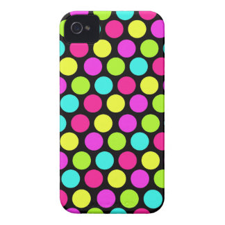 Girly Colorful Fun Neon Polka Dots Pattern Case-Mate iPhone 4 Cases