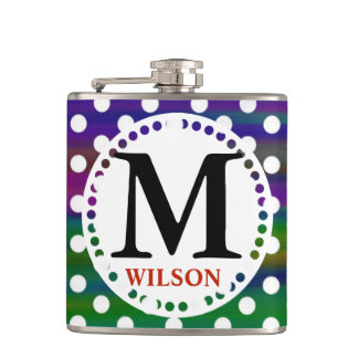Girly colorful monogram polka dots hip flask