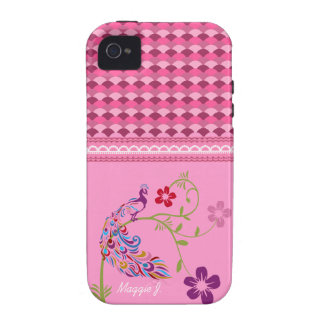 Girly Colorful Peacock and Flowers Cellphone Cover iPhone 4/4S Cover