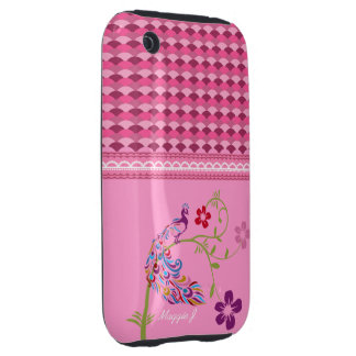 Girly Colorful Peacock and Flowers Cellphone Cover Tough iPhone 3 Case
