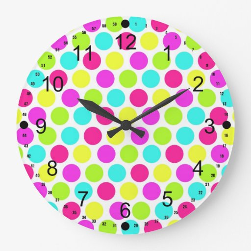Girly Colorful Polka Dots Pattern for Girls Round Wallclocks
