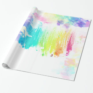 Girly colorful watercolor brushstrokes pattern wrapping paper