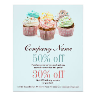 girly colourful cupcakes bakery business 11.5 cm x 14 cm flyer