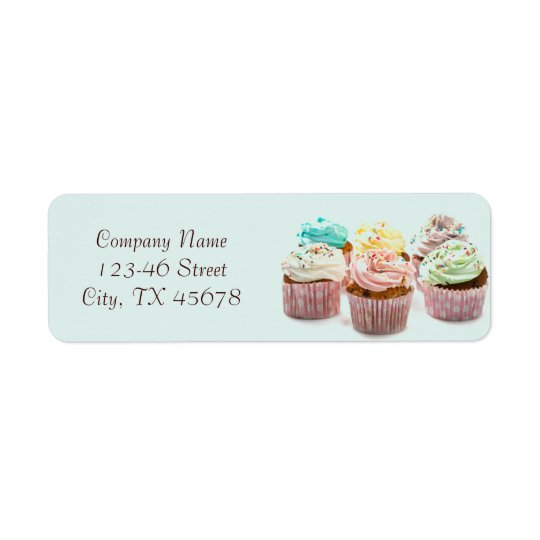girly colourful cupcakes bakery business return address label