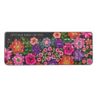 Girly Colourful Floral Pattern Custom Name Wireless Keyboard