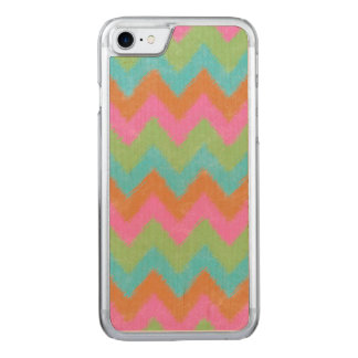 Girly Coral and Mint Bohemian Chevron Pattern Carved iPhone 8/7 Case