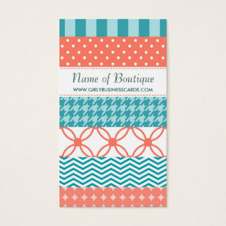 Girly Coral and Teal Washi Tape Pattern Boutique Business Card