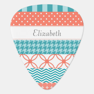 Girly Coral and Teal Washi Tape Pattern With Name Plectrum