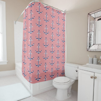 Girly coral pink anchor pattern shower curtain