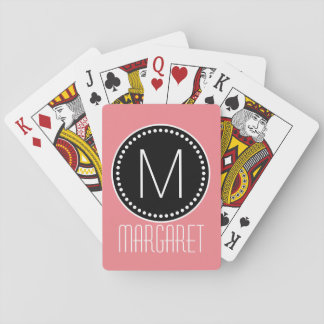 Girly Coral Pink Framed Monogram Playing Cards