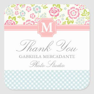 Girly Country Floral Personalized Square Sticker