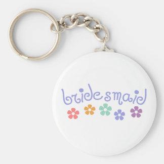 Girly-Cue Bridesmaid Basic Round Button Key Ring