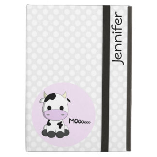 Girly cute cow cartoon customizable girls iPad air cover