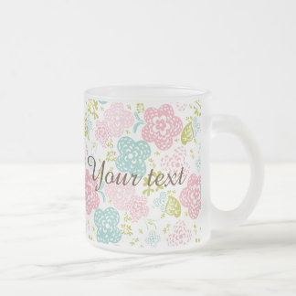 Girly,cute,floral,trendy,pink,teal,white,green,fun Frosted Glass Mug