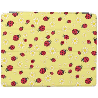 girly cute ladybug and daisy flower pattern yellow iPad cover