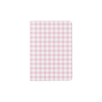 Girly Cute Pastel Pink Gingham Check Pattern Passport Holder