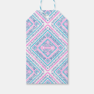 Girly Cute Pink Blue Aztec Tribal Pattern Gift Tags