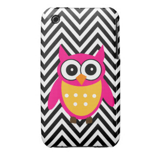 Girly Cute Pink Owl Black Chevron Pattern Case-Mate iPhone 3 Case