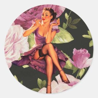 girly cute purple rose pin up girl vintage round sticker