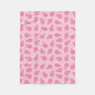 Girly cute summer pastel pink pineapple pattern fleece blanket