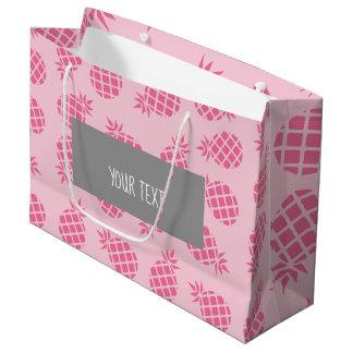 Girly cute summer pastel pink pineapple pattern large gift bag