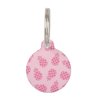 Girly cute summer pastel pink pineapple pattern pet tag