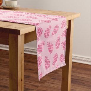 Girly cute summer pastel pink pineapple pattern short table runner