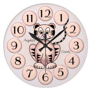 Girly Cute Tiger Pink Princess Wall Clock