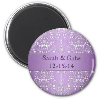 Girly Damask in Lavender and White 6 Cm Round Magnet