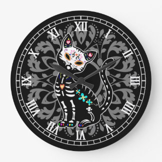 Girly Day of the Dead cute cat and grey damask Wallclock