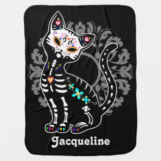 Girly Day of the Dead cute cat custom black Buggy Blankets