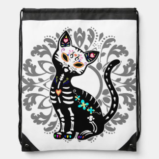 Girly Day of the Dead cute cat custom Drawstring Bag
