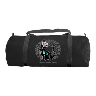 Girly Day of the Dead cute cat custom name Gym Bag