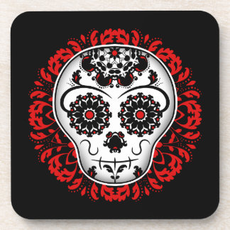 Girly day of the dead sugar skull black and red beverage coasters