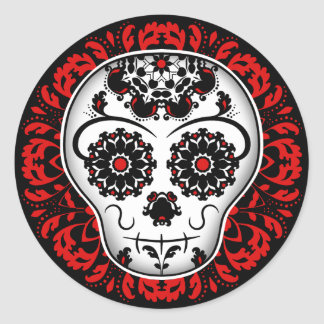 Girly day of the dead sugar skull red and black round sticker