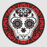Girly day of the dead sugar skull red and black sticker