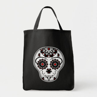 Girly day of the dead sugar skull red and black grocery tote bag
