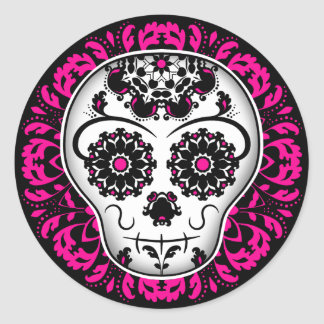 Girly day of the dead sugar skull round sticker