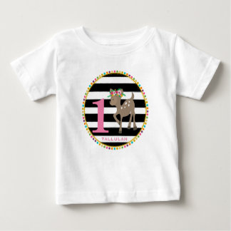 Girly Deer Stripes Birthday Shirt