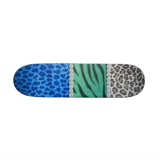 Girly Diamond Animal Print Skate Board Deck