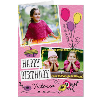 Girly Doodles Custom Photo Birthday Card