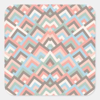 Girly Earth Zigzag Symmetric Peeks Pattern Square Sticker