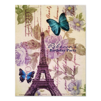 girly eiffel tower floral vintage birthday party 11 cm x 14 cm invitation card
