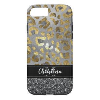 Girly Elegant Gold Silver Animal Print Monogram iPhone 8/7 Case
