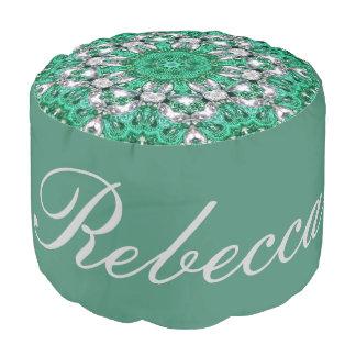girly embroidery emerald green pattern bohemian pouf