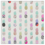 Girly Exotic Pineapple Aztec Floral Pattern Fabric