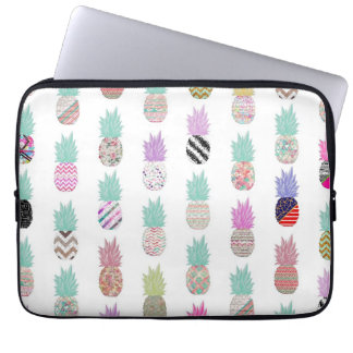 Girly Exotic Pineapple Aztec Floral Pattern Laptop Sleeve
