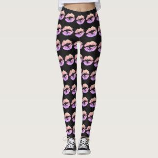 Girly Faux Glitter Neon Lips Black Custom Leggings