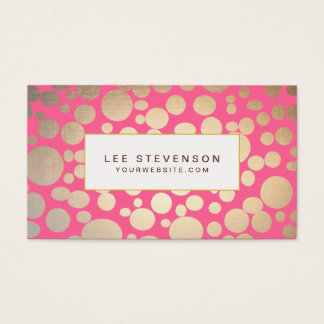 Girly Faux Gold Leaf Circles Pink Business Card